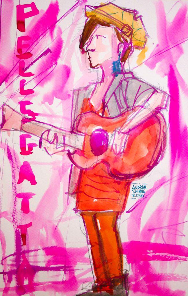 VITA DA CANTAUTRICE è Pellegatta ritratta dal vivo da Andrea Spinelli Art per Nonsense Mag.