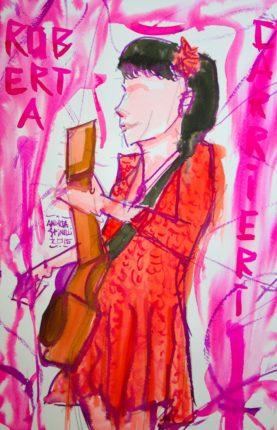 VITA DA CANTAUTRICE è Roberta Carrieri ritratta dal vivo da Andrea Spinelli Art per Nonsense Mag.