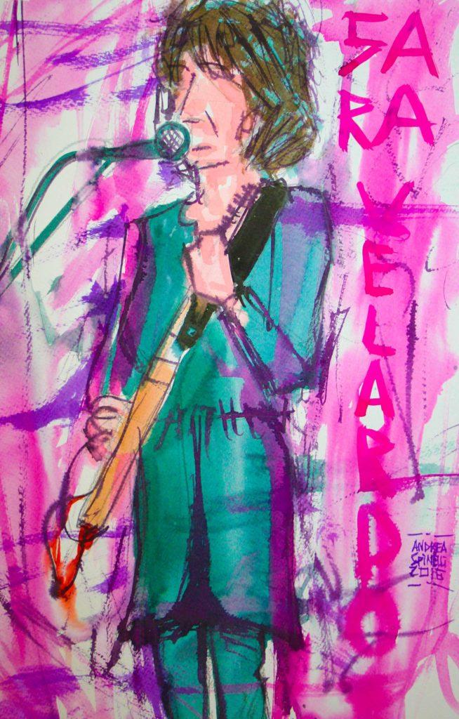 VITA DA CANTAUTRICE è Sara Velardo ritratta dal vivo da Andrea Spinelli Art per Nonsense Mag.