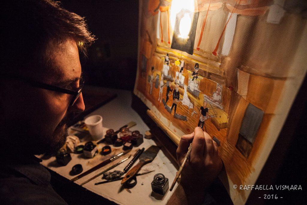 Andrea Spinelli live painting Eugenio Finardi Teatro Dal Verme di Milano