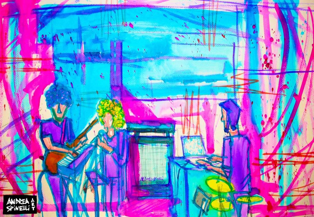 Elisa Rossi live al Goganga di Milano ritratta dal vivo da Andrea Spinelli Art