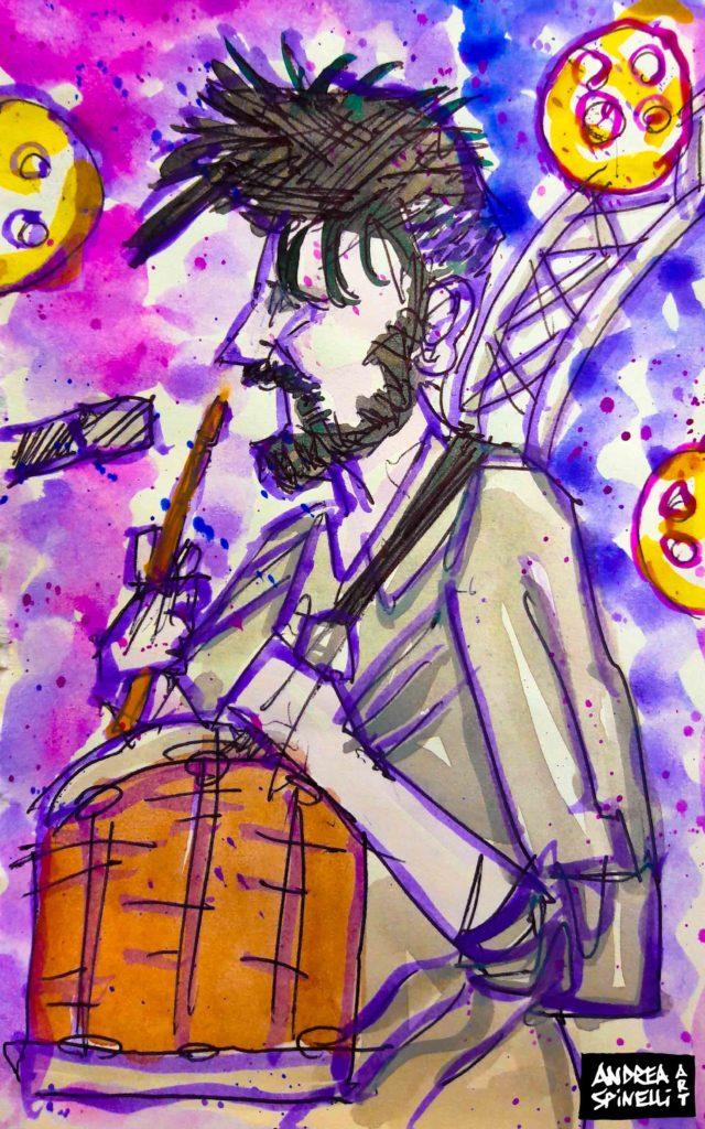 Daniele Incicco dei La Rua live alla Salumeria Della Musica ritratto dal vivo da Andrea Spinelli Art per Nonsense Mag
