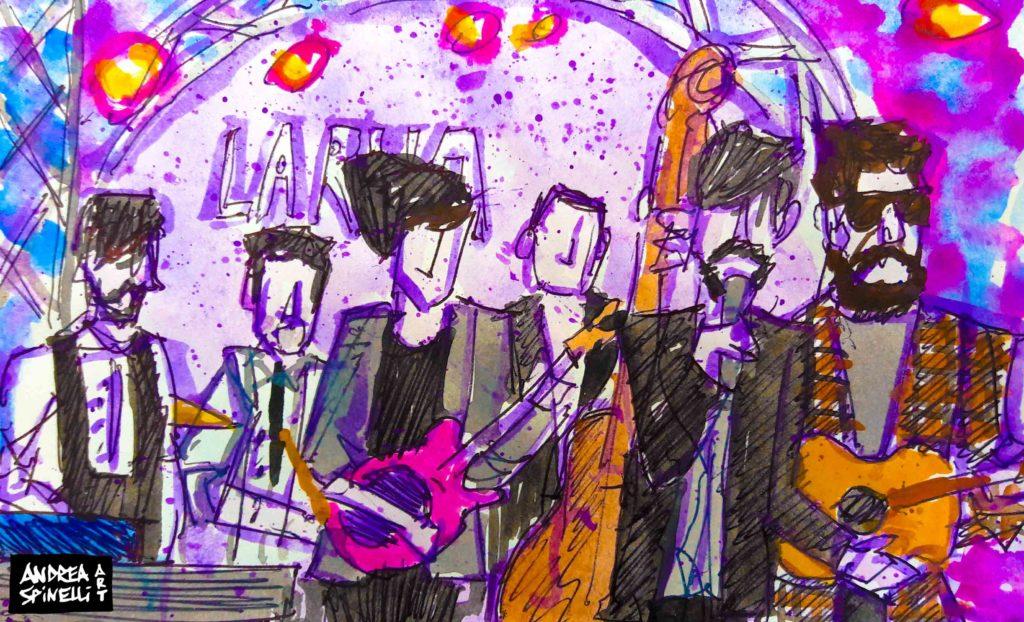 La Rua live alla Salumeria Della Musica ritratti dal vivo da Andrea Spinelli Art per Nonsense Mag