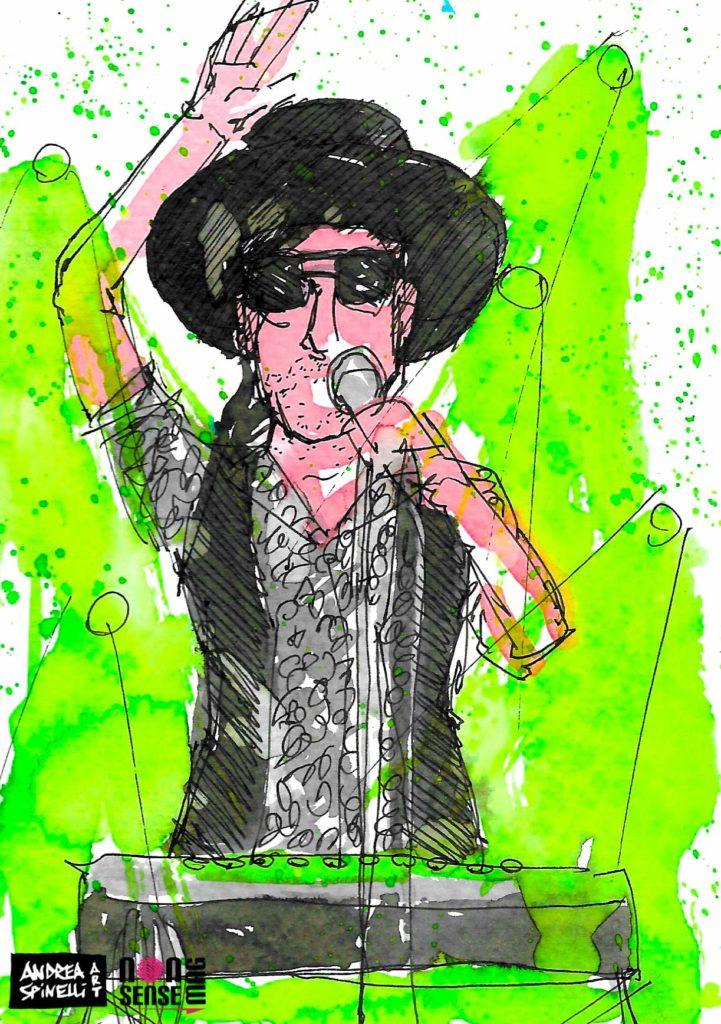 AJ Jackson dei Saint Motel ritratto dal vivo dal live painter Andrea Spinelli Art al Fabrique di Milano