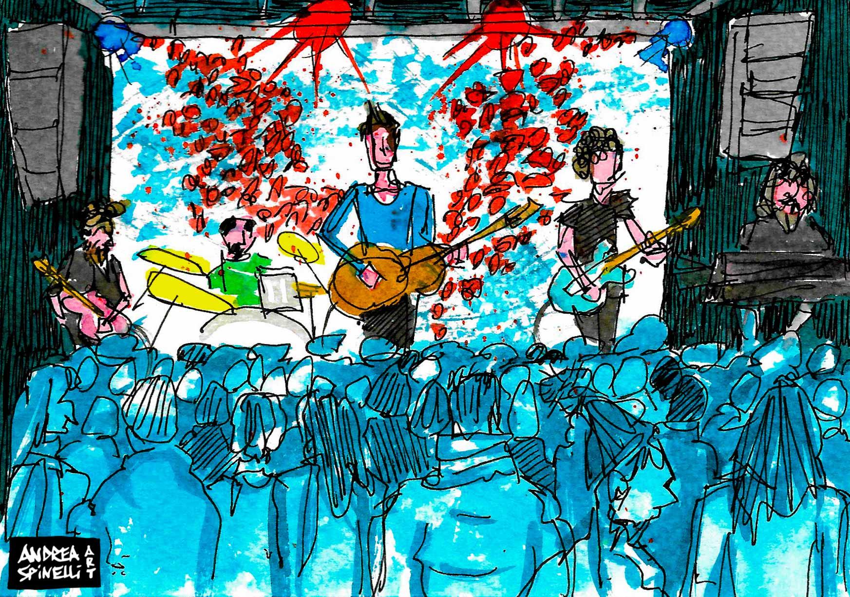 Diodato live alla Santeria Social Club di Milano ritratto dal vivo dal live painter Andrea Spinelli Art