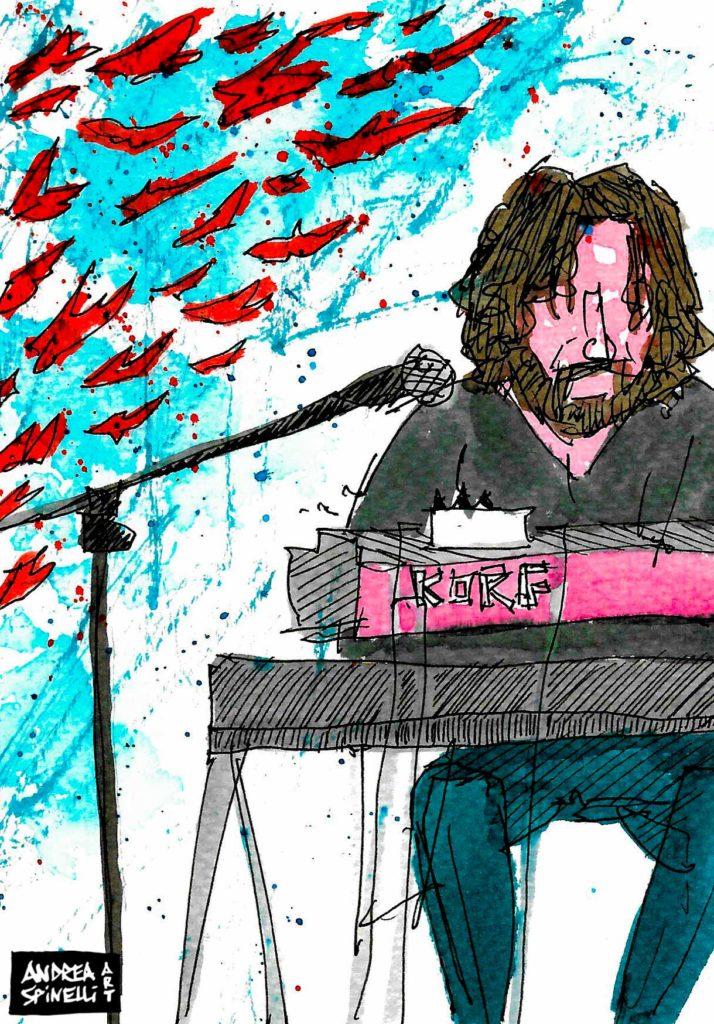 Duilio Galioto con Diodato live alla Santeria Social Club di Milano ritratto dal vivo dal live painter Andrea Spinelli Art