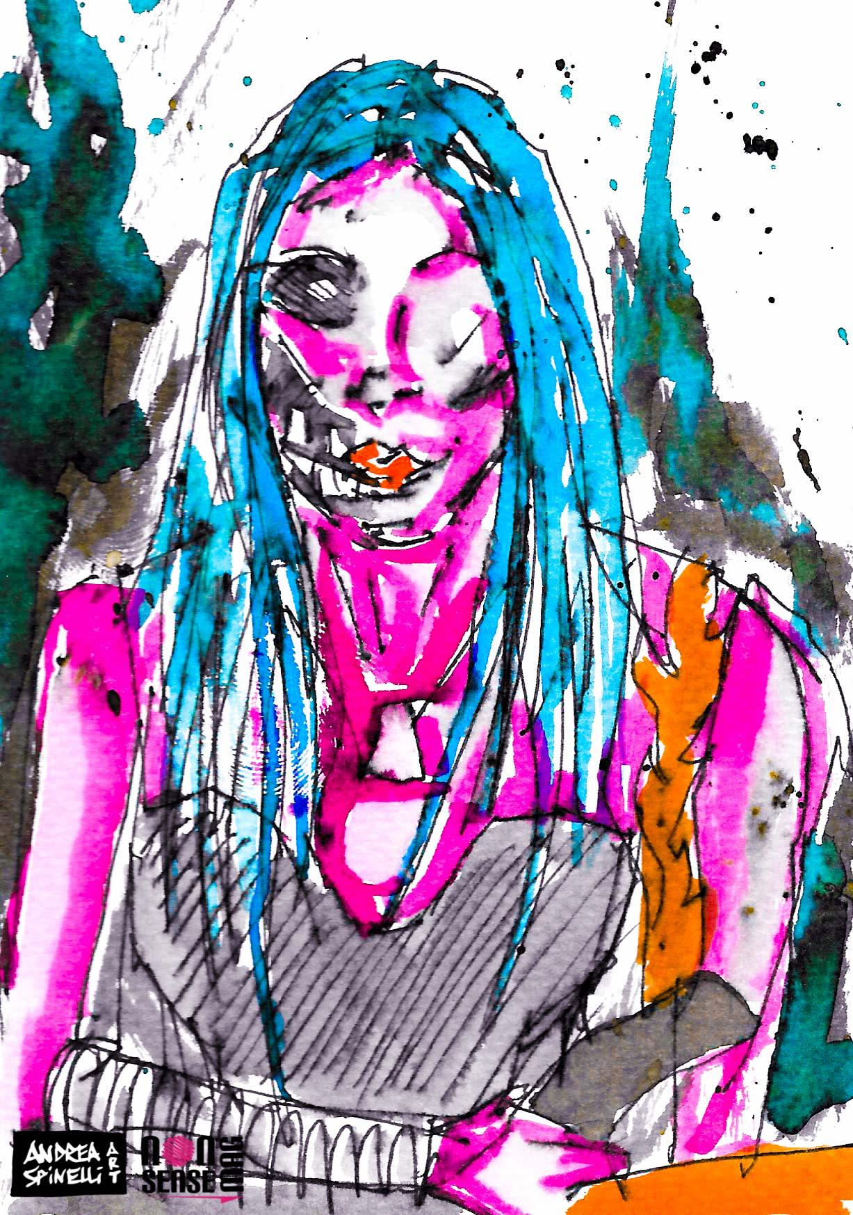 Elisa Branca degli Scarlet And The Spooky Spiders ritratta dal vivo da Andrea Spinelli Art per Nonsense Mag