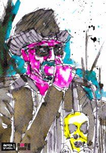 Luca Meini degli Scarlet And The Spooky Spiders ritratto dal vivo da Andrea Spinelli Art per Nonsense Mag