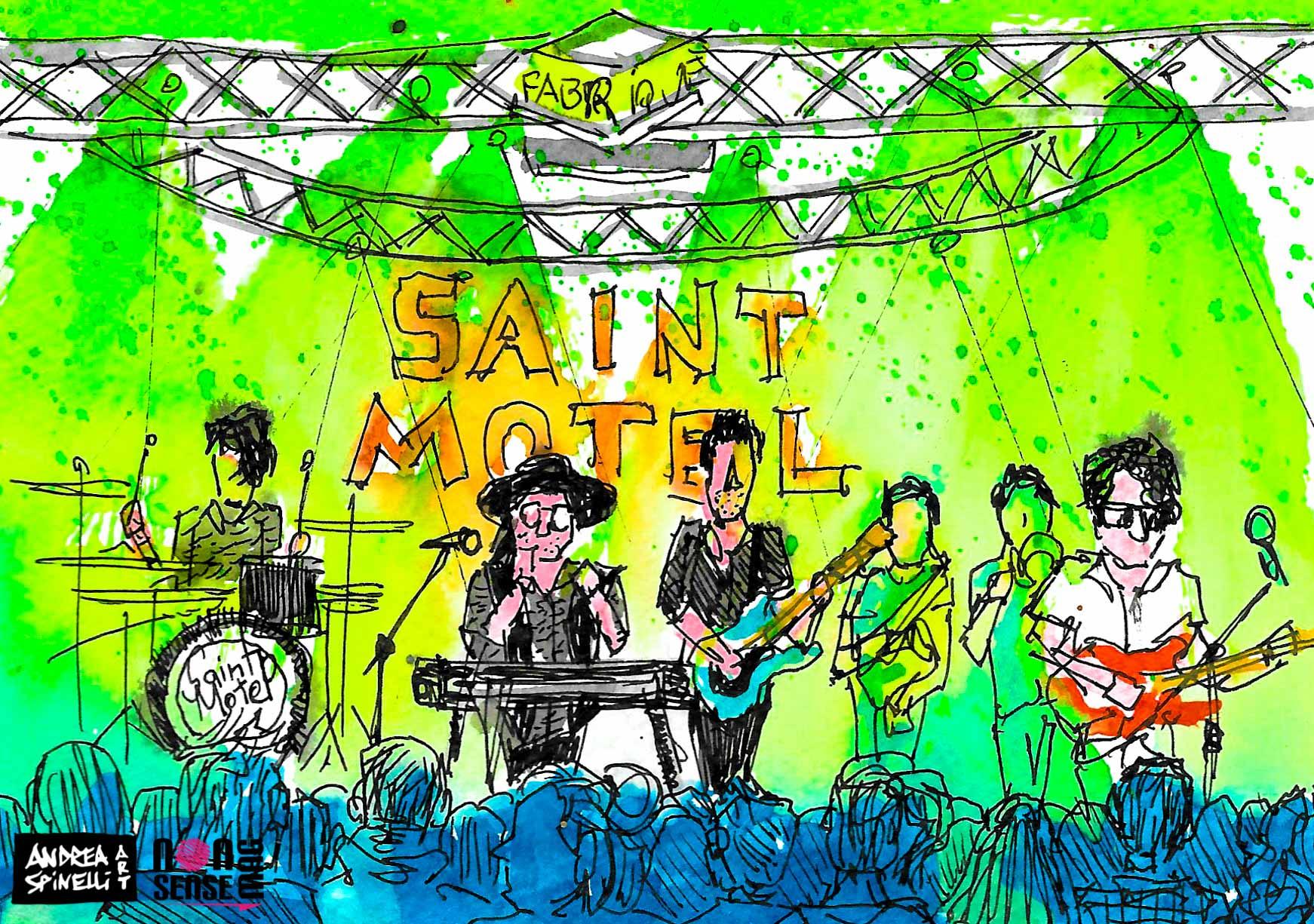 I Saint Motel ritratti dal vivo dal live painter Andrea Spinelli Art al Fabrique di Milano