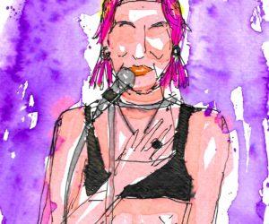 Vittoria Hyde dei Vittoria And The Hyde Park ritratta dal vivo dal live painter Andrea Spinelli Art al Fabrique di Milano