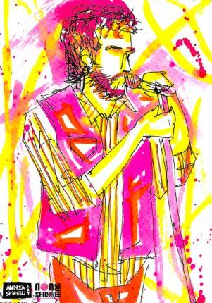 Luca Romagnoli del Management Del Dolore Post Operatorio ritratto dal vivo da Andrea Spinelli Art per Nonsense Mag