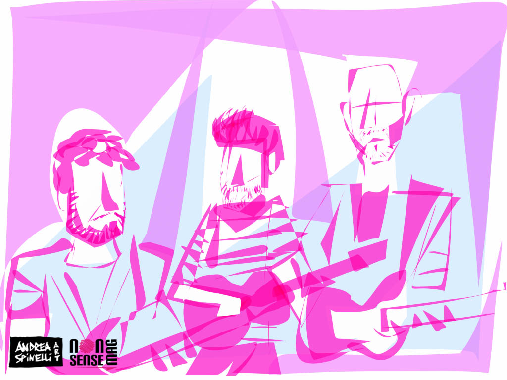 Pollio e Band ritratti dal vivo da Andrea Spinelli Art alla Salumeria Della Musica di Milano per Nonsense Mag