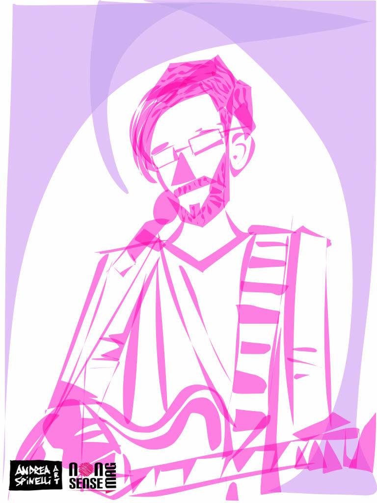 Qualunque ritratto dal vivo da Andrea Spinelli Art alla Salumeria Della Musica di Milano per Nonsense Mag